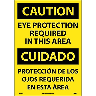 Caution, Eye Protection Required In This Area (Bilingual), 20X14, Adhesive Vinyl