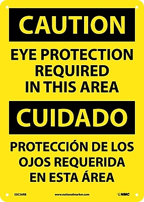 Caution, Eye Protection Required In This Area (Bilingual), 14X10, Rigid Plastic