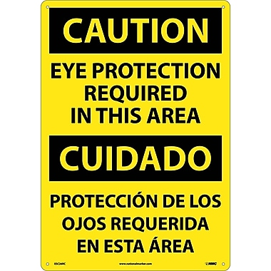 Caution, Eye Protection Required In This Area (Bilingual), 20X14, Rigid Plastic