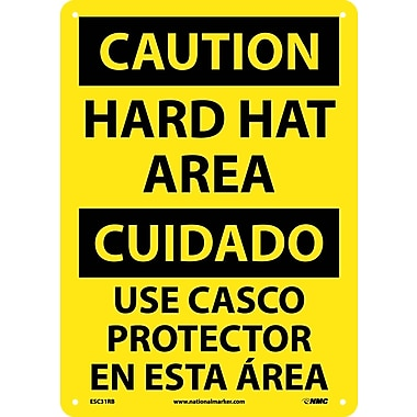 Caution, Hard Hat Area Bilingual, 14X10, Rigid Plastic