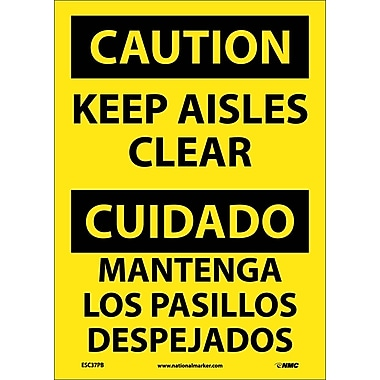 Caution, Keep Aisles Clear (Bilingual), 14X10, Adhesive Vinyl