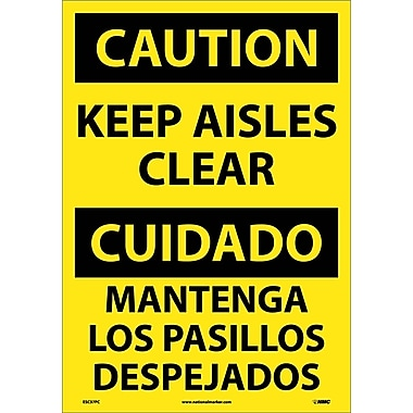 Caution, Keep Aisles Clear (Bilingual), 20X14, Adhesive Vinyl