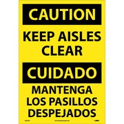 Caution, Keep Aisles Clear (Bilingual), 20X14, Adhesive Vinyl
