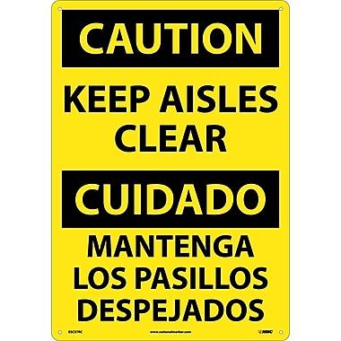 Caution, Keep Aisles Clear (Bilingual), 20X14, Rigid Plastic