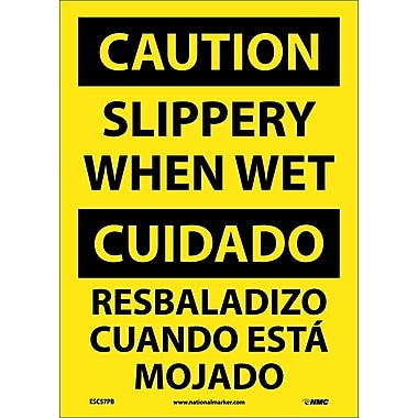 Caution, Slippery When Wet (Bilingual), 14X10, Adhesive Vinyl
