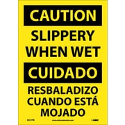 Caution, Slippery When Wet (Bilingual), 14X10, Adhesive Vinyl