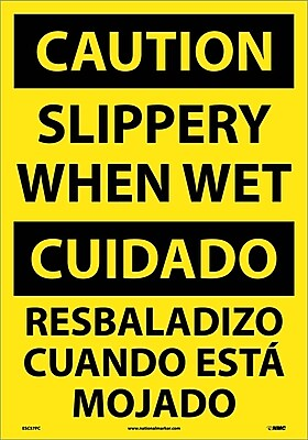 Caution, Slippery When Wet (Bilingual), 20X14, Adhesive Vinyl
