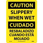 Caution, Slippery When Wet (Bilingual), 14X10, Rigid Plastic