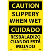 Caution, Slippery When Wet (Bilingual), 20X14, Rigid Plastic