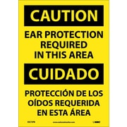Caution, Ear Protection Required In This Area (Bilingual), 14X10, Adhesive Vinyl