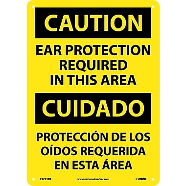 Caution, Ear Protection Required In This Area (Bilingual), 14X10, Rigid Plastic