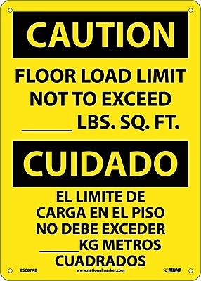 Caution, Floor Load Limit Not To Exceed __Lb. Sq. Ft. Bilingual, 14X10, .040 Aluminum