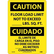Caution, Floor Load Limit Not To Exceed __Lb. Sq. Ft. Bilingual, 14X10, Rigid Plastic