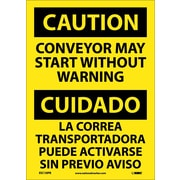 Caution, Conveyor May Start Without Warning Bilingual, 14X10, Adhesive Vinyl