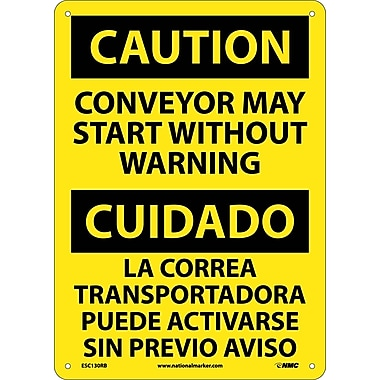 Caution, Conveyor May Start Without Warning Bilingual, 14X10, Rigid Plastic