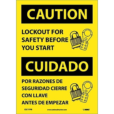 Caution, Lockout For Safety Before You Start (Bilingual), 14X10, Adhesive Vinyl