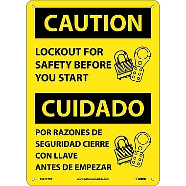 Caution, Lockout For Safety Before You Start (Bilingual), 14X10, Rigid Plastic