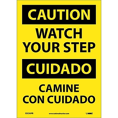 Caution, Watch Your Step (Bilingual), 14X10, Adhesive Vinyl