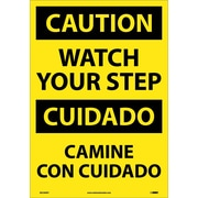 Caution, Watch Your Step (Bilingual), 20X14, Adhesive Vinyl