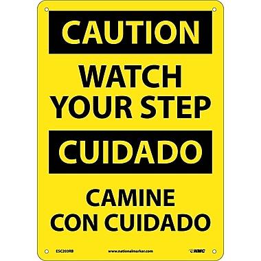 Caution, Watch Your Step (Bilingual), 14X10, Rigid Plastic
