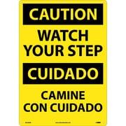 Caution, Watch Your Step (Bilingual), 20X14, Rigid Plastic