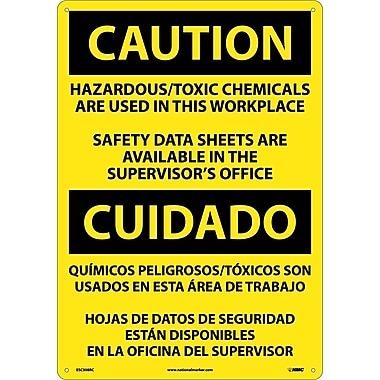 Caution, Hazardous Toxic Chemicals Are Use (Bilingual), 20X14, Rigid Plastic