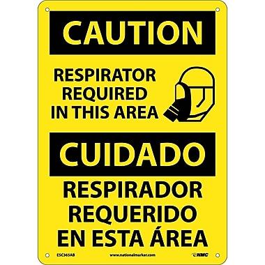 Caution, Respirator Required In This Area Bilingual, Graphic, 14X10, .040 Aluminum