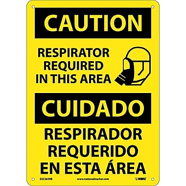 Caution, Respirator Required In This Area Bilingual, Graphic, 14X10, Rigid Plastic