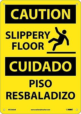 Caution, Slippery Floor Bilingual, Graphic, 14X10, .040 Aluminum