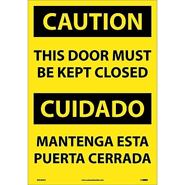 Caution, This Door Must Be Kept Closed (Bilingual), 20X14, Adhesive Vinyl