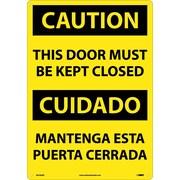 Caution, This Door Must Be Kept Closed (Bilingual), 20X14, Rigid Plastic