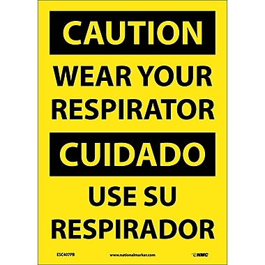 Caution, Wear Your Respirator (Bilingual), 14X10, Adhesive Vinyl