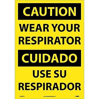 Caution, Wear Your Respirator (Bilingual), 20X14, Adhesive Vinyl