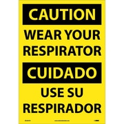Caution, Wear Your Respirator (Bilingual), 20X14, Adhesive Vinyl