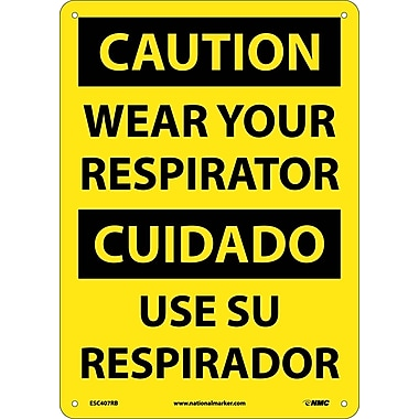 Caution, Wear Your Respirator (Bilingual), 14X10, Rigid Plastic