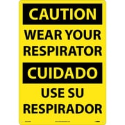 Caution, Wear Your Respirator (Bilingual), 20X14, Rigid Plastic