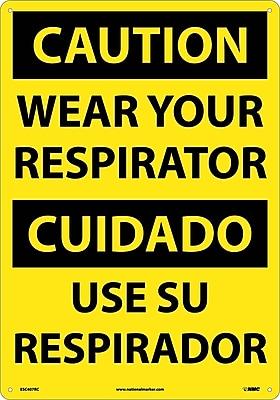 Caution, Wear Your Respirator (Bilingual), 20X14, Rigid Plastic