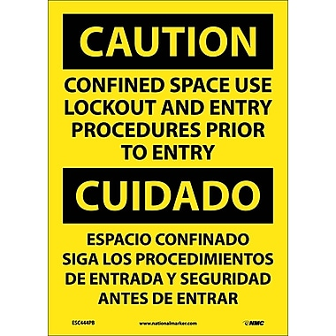 Caution, Confined Space Use Lockout And Entry Procedures Prior To Entry Bilingual, 14X10, Adhesive Vinyl