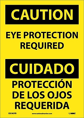 Caution, Eye Protection Required Bilingual, 14X10, Adhesive Vinyl