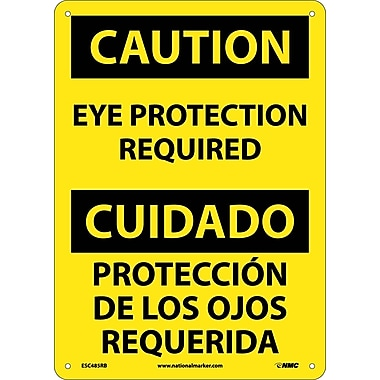 Caution, Eye Protection Required Bilingual, 14X10, Rigid Plastic