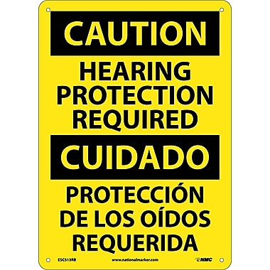 Caution, Hearing Protection Required Bilingual, 14X10, Rigid Plastic