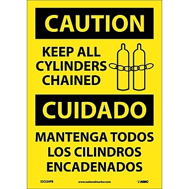 Caution, Keep All Cylinders Chained Bilingual, Graphic, 14X10, Adhesive Vinyl