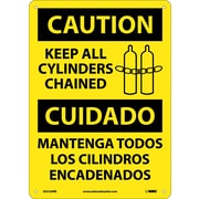 Caution, Keep All Cylinders Chained Bilingual, Graphic, 14X10, Rigid Plastic