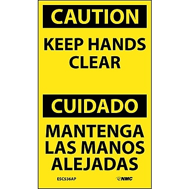 Labels - Caution, Keep Hands Clear Bilingual, 5X3, Adhesive Vinyl, 5/Pk
