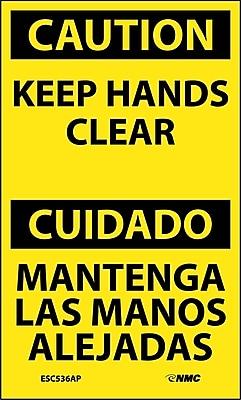 Labels - Caution, Keep Hands Clear Bilingual, 5X3, Adhesive Vinyl, 5/Pk