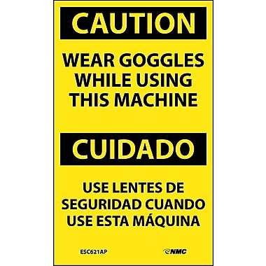 Labels - Caution, Wear Goggles While Using This Machine Bilingual, 5X3, Adhesive Vinyl, 5/Pk