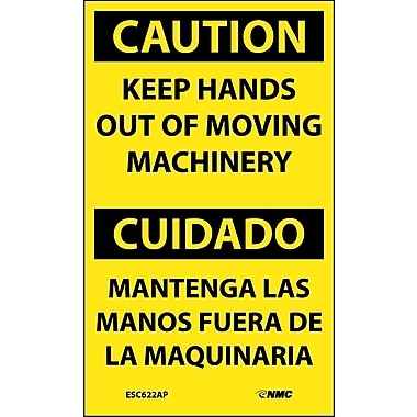 Labels - Caution, Keep Hands Out Of Moving Machinery Bilingual, 5X3, Adhesive Vinyl, 5/Pk