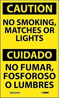 Labels - Caution, No Smoking, Matches Or Lights Bilingual, 5X3, Adhesive Vinyl, 5/Pk