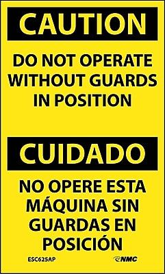 Labels - Caution, Do Not Operate Without Guards In Position Bilingual, 5X3, Adhesive Vinyl