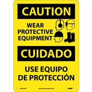 Caution, Wear Protective Equipment Bilingual, Graphic, 14X10, .040 Aluminum